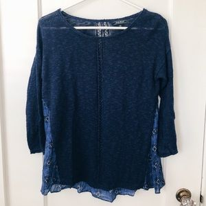 Navy Sweater with Flowy Blue Back